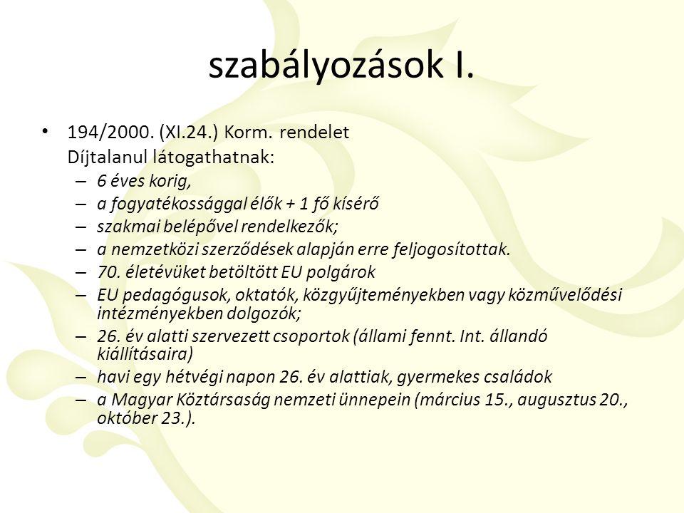 szabályozások I. 194/2000. (XI.24.) Korm.
