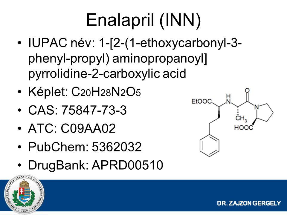 DR. Z AJZON G ERGELY Enalapril (INN) IUPAC név: 1-[2-(1-ethoxycarbonyl-3- phenyl-propyl) aminopropanoyl] pyrrolidine-2-carboxylic acid Képlet: C 20 H