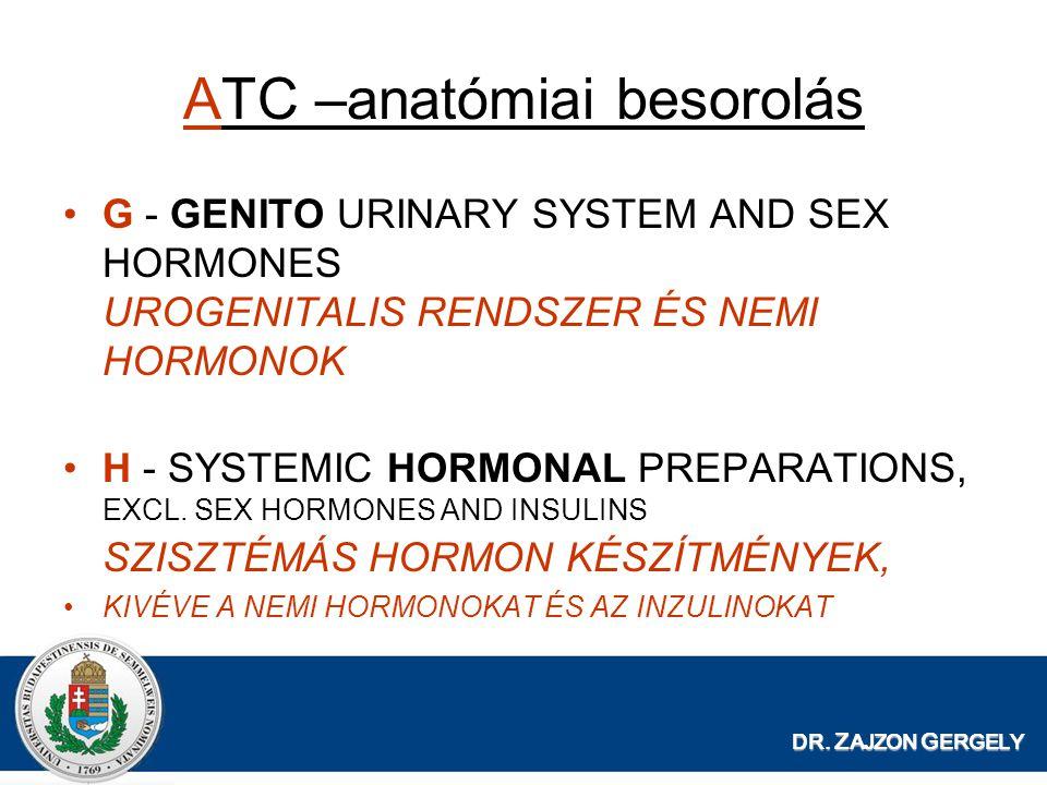 DR. Z AJZON G ERGELY ATC –anatómiai besorolás G - GENITO URINARY SYSTEM AND SEX HORMONES UROGENITALIS RENDSZER ÉS NEMI HORMONOK H - SYSTEMIC HORMONAL