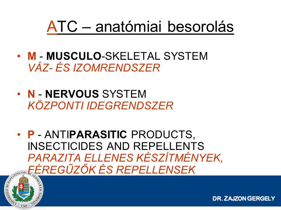 DR. Z AJZON G ERGELY ATC – anatómiai besorolás M - MUSCULO-SKELETAL SYSTEM VÁZ- ÉS IZOMRENDSZER N - NERVOUS SYSTEM KÖZPONTI IDEGRENDSZER P - ANTIPARAS