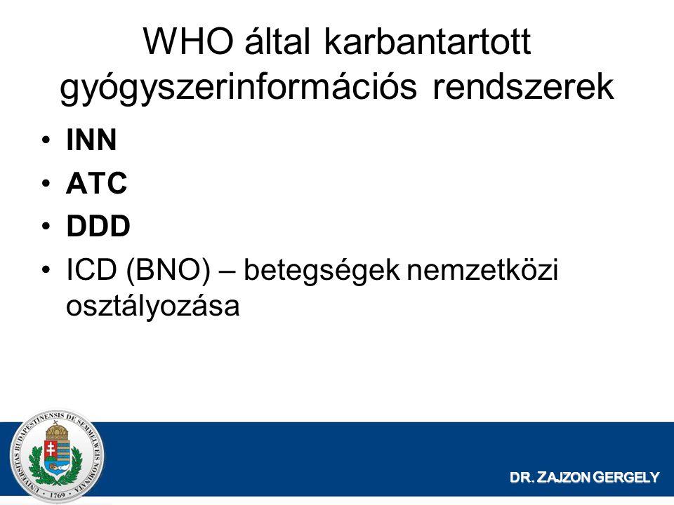 DR. Z AJZON G ERGELY WHO által karbantartott gyógyszerinformációs rendszerek INN ATC DDD ICD (BNO) – betegségek nemzetközi osztályozása