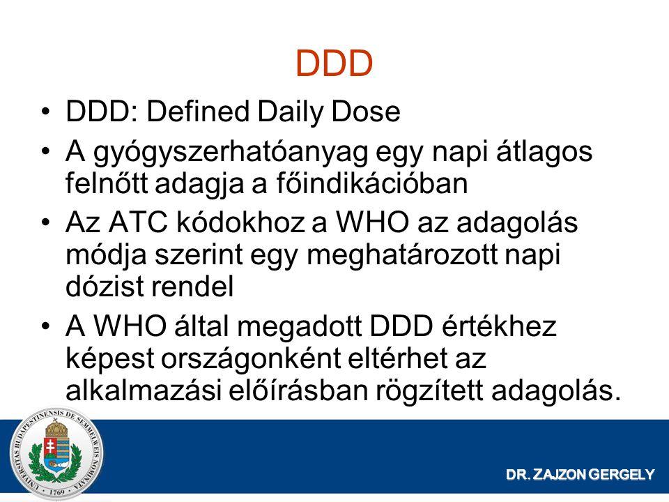 DDD DDD: Defined Daily Dose A gyógyszerhatóanyag egy napi átlagos felnőtt adagja a főindikációban Az ATC kódokhoz a WHO az adagolás módja szerint egy meghatározott napi dózist rendel A WHO által megadott DDD értékhez képest országonként eltérhet az alkalmazási előírásban rögzített adagolás.