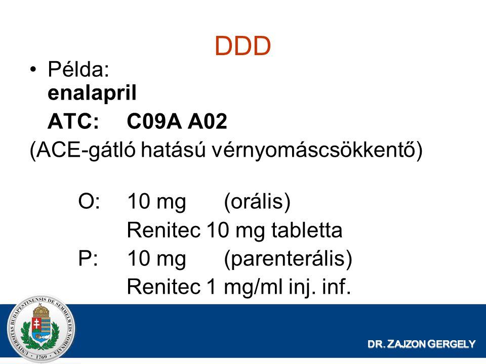 DR. Z AJZON G ERGELY DDD Példa: enalapril ATC:C09A A02 (ACE-gátló hatású vérnyomáscsökkentő) O:10 mg(orális) Renitec 10 mg tabletta P:10 mg(parenterál