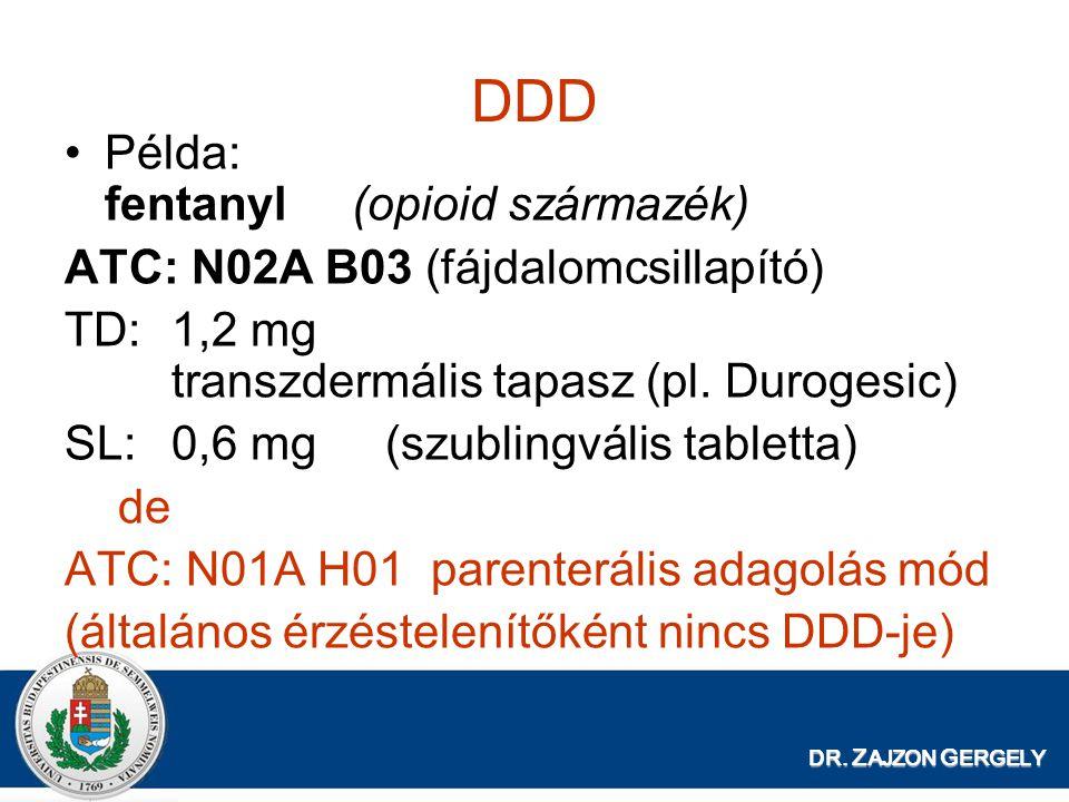 DR. Z AJZON G ERGELY DDD Példa: fentanyl (opioid származék) ATC: N02A B03 (fájdalomcsillapító) TD:1,2 mg transzdermális tapasz (pl. Durogesic) SL:0,6