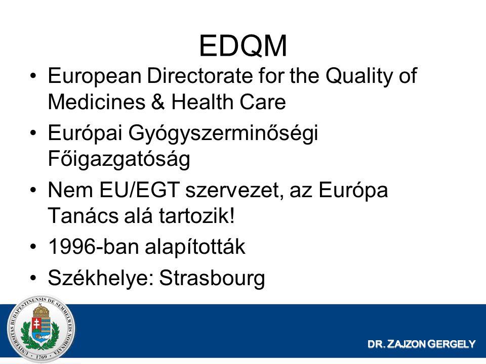 DR. Z AJZON G ERGELY EDQM European Directorate for the Quality of Medicines & Health Care Európai Gyógyszerminőségi Főigazgatóság Nem EU/EGT szervezet