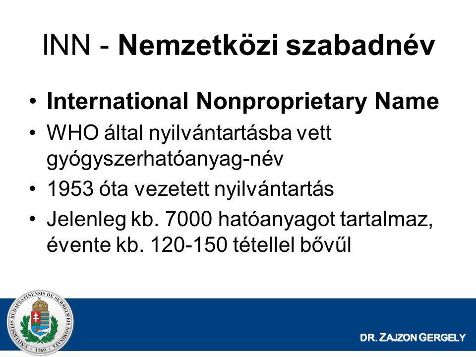 DR. Z AJZON G ERGELY INN - Nemzetközi szabadnév International Nonproprietary Name WHO által nyilvántartásba vett gyógyszerhatóanyag-név 1953 óta vezet