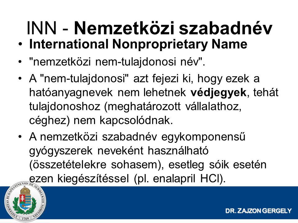 DR. Z AJZON G ERGELY INN - Nemzetközi szabadnév International Nonproprietary Name
