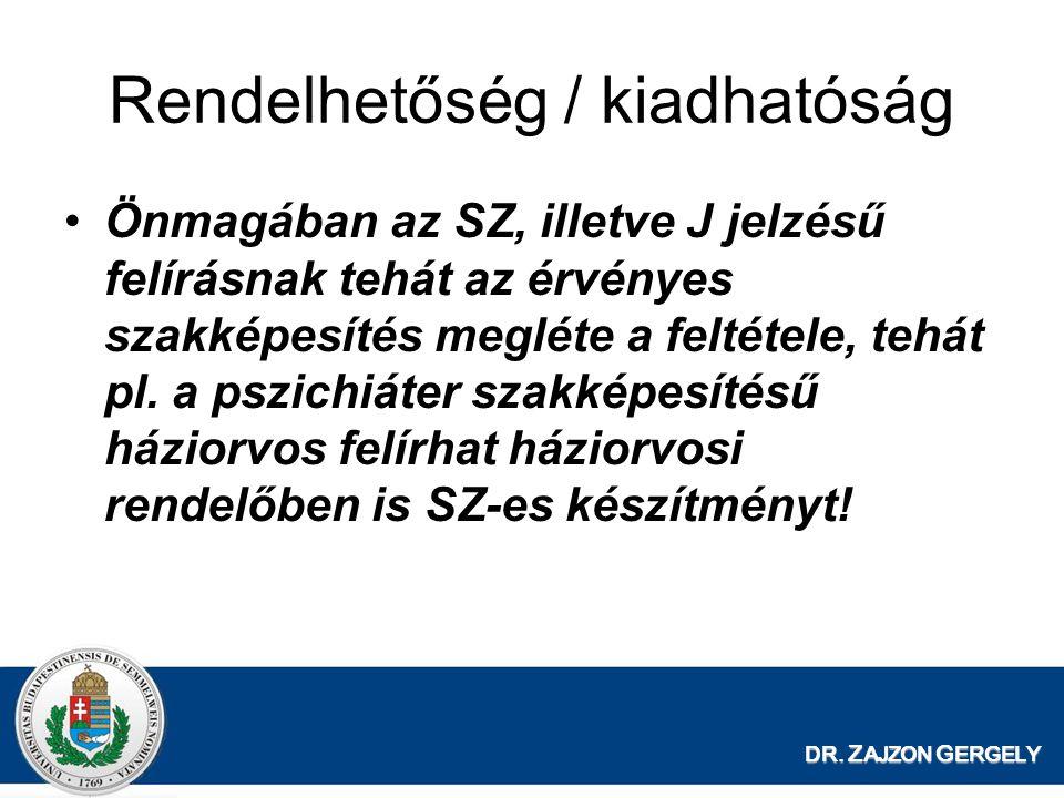 DR. Z AJZON G ERGELY Rendelhetőség / kiadhatóság Önmagában az SZ, illetve J jelzésű felírásnak tehát az érvényes szakképesítés megléte a feltétele, te