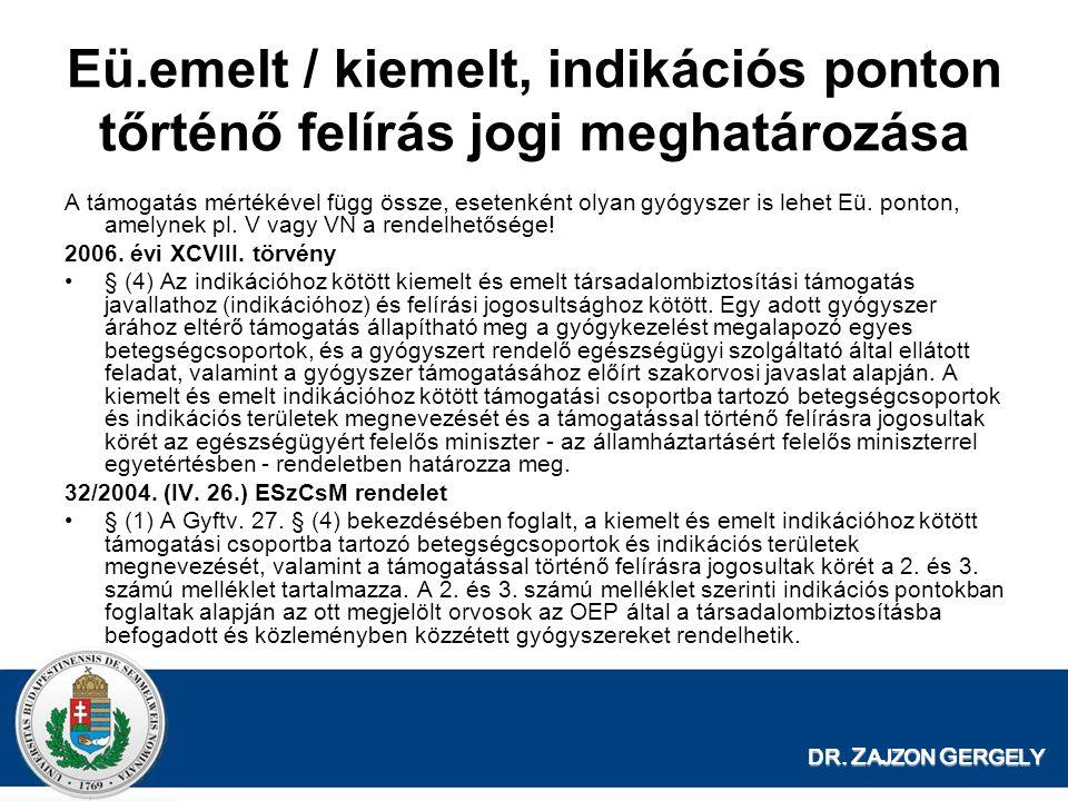 DR. Z AJZON G ERGELY Eü.emelt / kiemelt, indikációs ponton tőrténő felírás jogi meghatározása A támogatás mértékével függ össze, esetenként olyan gyóg