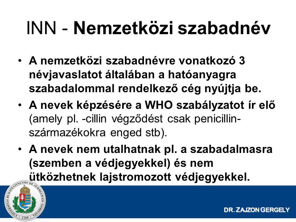 DR. Z AJZON G ERGELY INN - Nemzetközi szabadnév A nemzetközi szabadnévre vonatkozó 3 névjavaslatot általában a hatóanyagra szabadalommal rendelkező cé