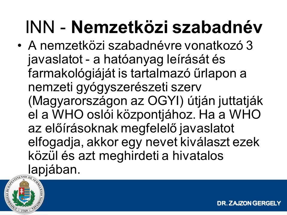 DR. Z AJZON G ERGELY INN - Nemzetközi szabadnév A nemzetközi szabadnévre vonatkozó 3 javaslatot - a hatóanyag leírását és farmakológiáját is tartalmaz