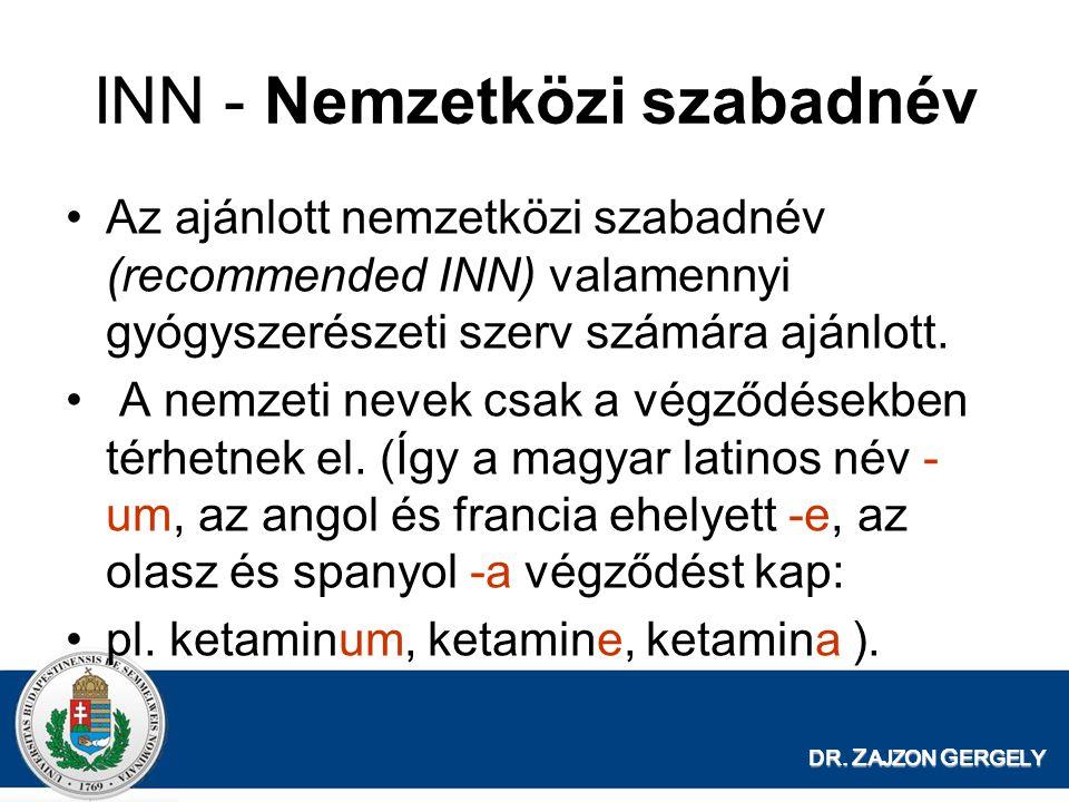 DR. Z AJZON G ERGELY INN - Nemzetközi szabadnév Az ajánlott nemzetközi szabadnév (recommended INN) valamennyi gyógyszerészeti szerv számára ajánlott.
