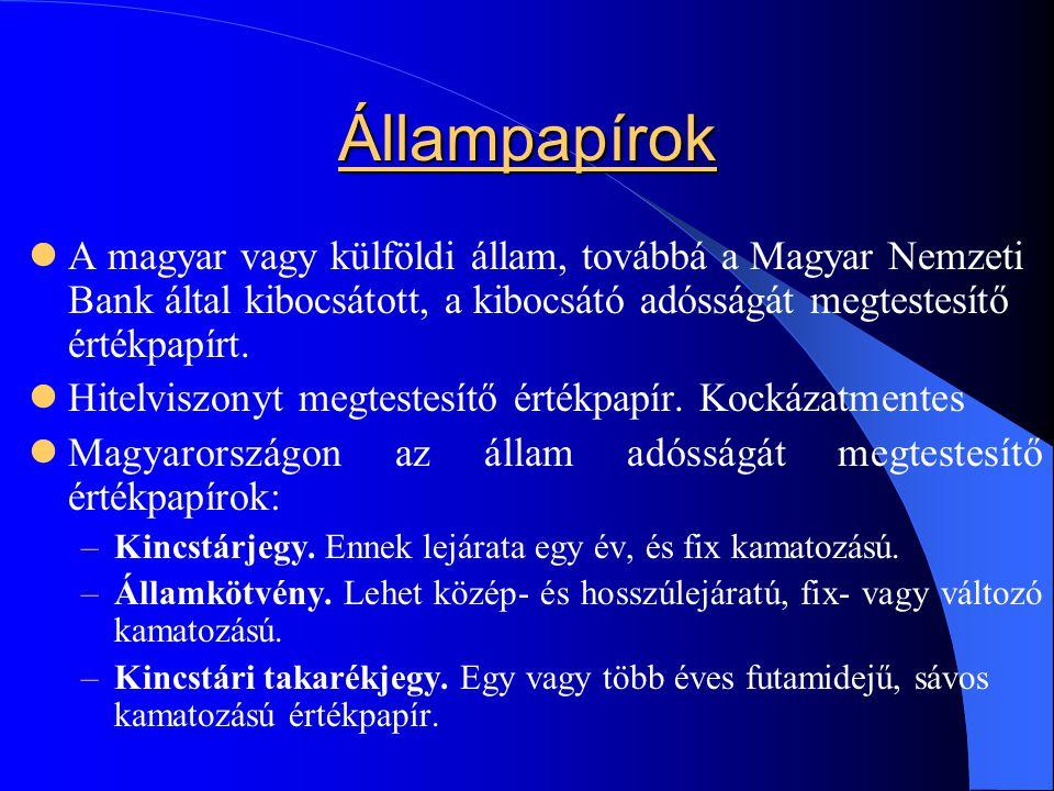 Állampapírok A magyar vagy külföldi állam, továbbá a Magyar Nemzeti Bank által kibocsátott, a kibocsátó adósságát megtestesítő értékpapírt. Hitelviszo