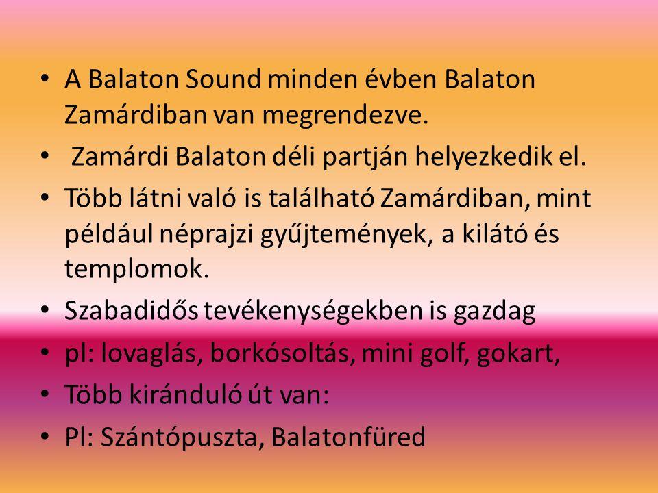 A Balaton Sound minden évben Balaton Zamárdiban van megrendezve. Zamárdi Balaton déli partján helyezkedik el. Több látni való is található Zamárdiban,