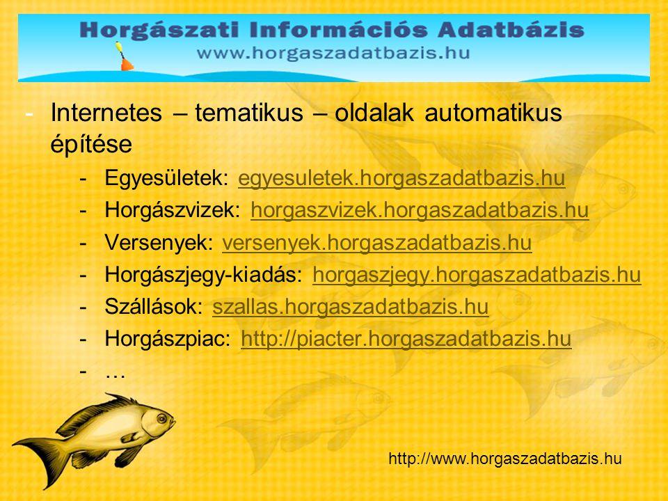 -Internetes – tematikus – oldalak automatikus építése -Egyesületek: egyesuletek.horgaszadatbazis.huegyesuletek.horgaszadatbazis.hu -Horgászvizek: horg