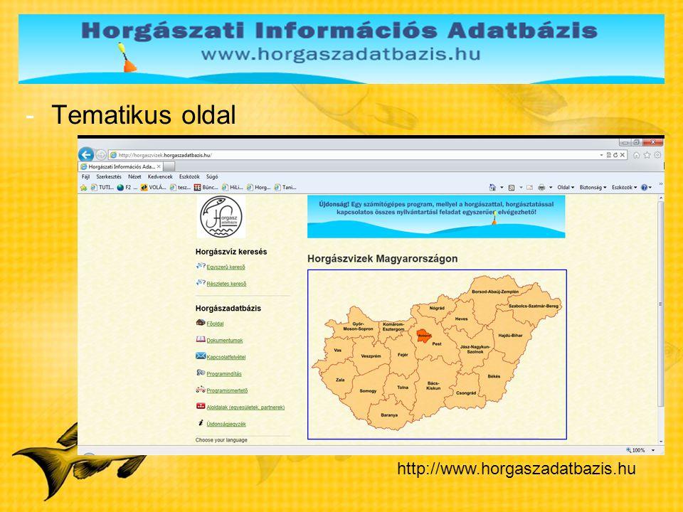 -Tematikus oldal http://www.horgaszadatbazis.hu