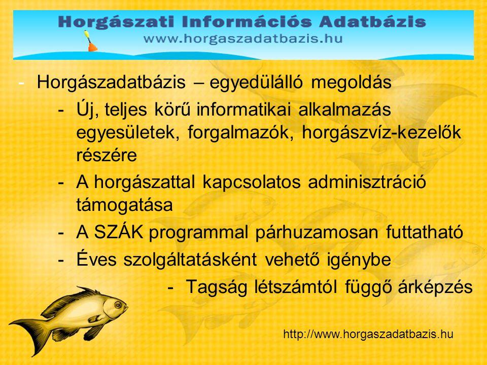 -Horgászadatbázis – egyedülálló megoldás -Új, teljes körű informatikai alkalmazás egyesületek, forgalmazók, horgászvíz-kezelők részére -A horgászattal