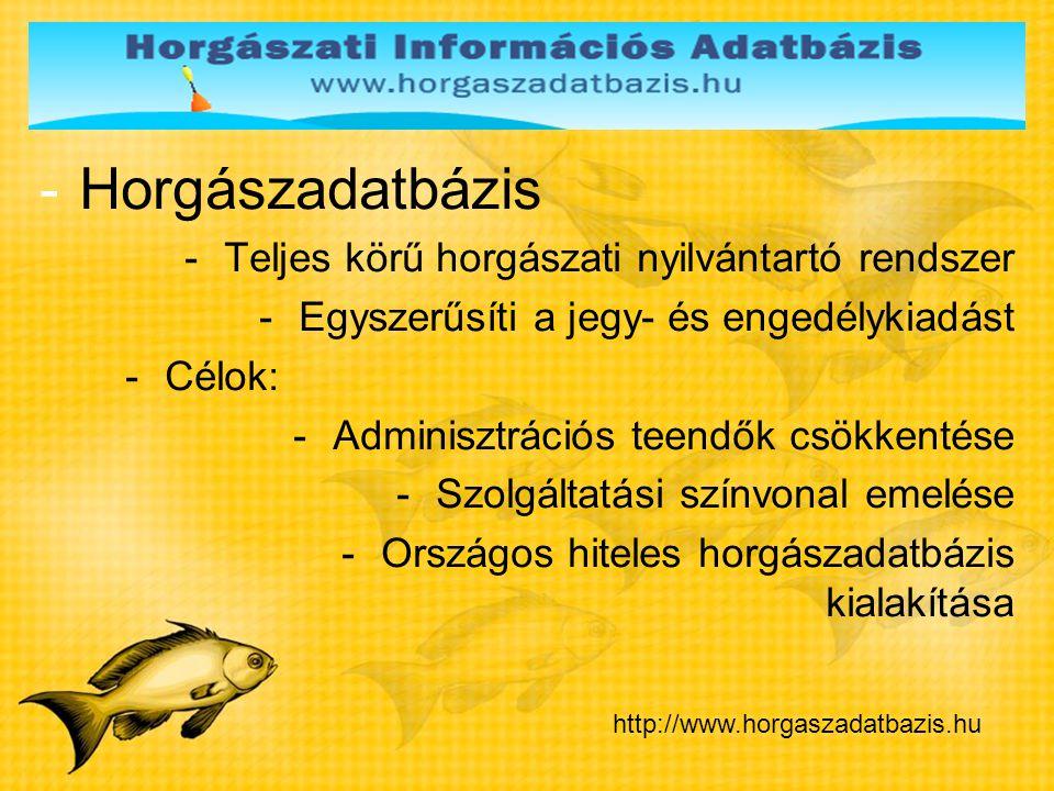-Horgászadatbázis -Teljes körű horgászati nyilvántartó rendszer -Egyszerűsíti a jegy- és engedélykiadást -Célok: -Adminisztrációs teendők csökkentése