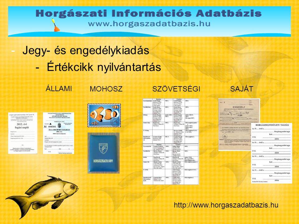 -Jegy- és engedélykiadás -Értékcikk nyilvántartás http://www.horgaszadatbazis.hu ÁLLAMI MOHOSZ SAJÁT SZÖVETSÉGI