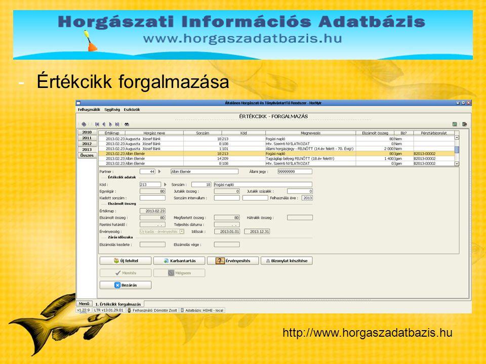 -Értékcikk forgalmazása http://www.horgaszadatbazis.hu