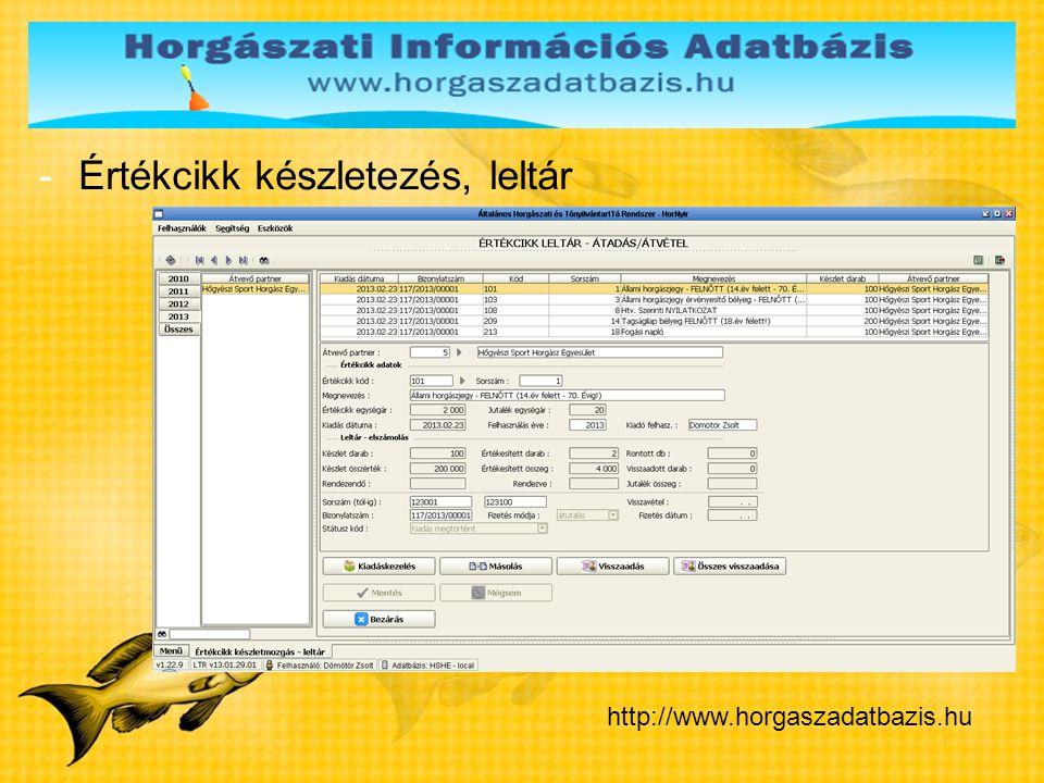 -Értékcikk készletezés, leltár http://www.horgaszadatbazis.hu