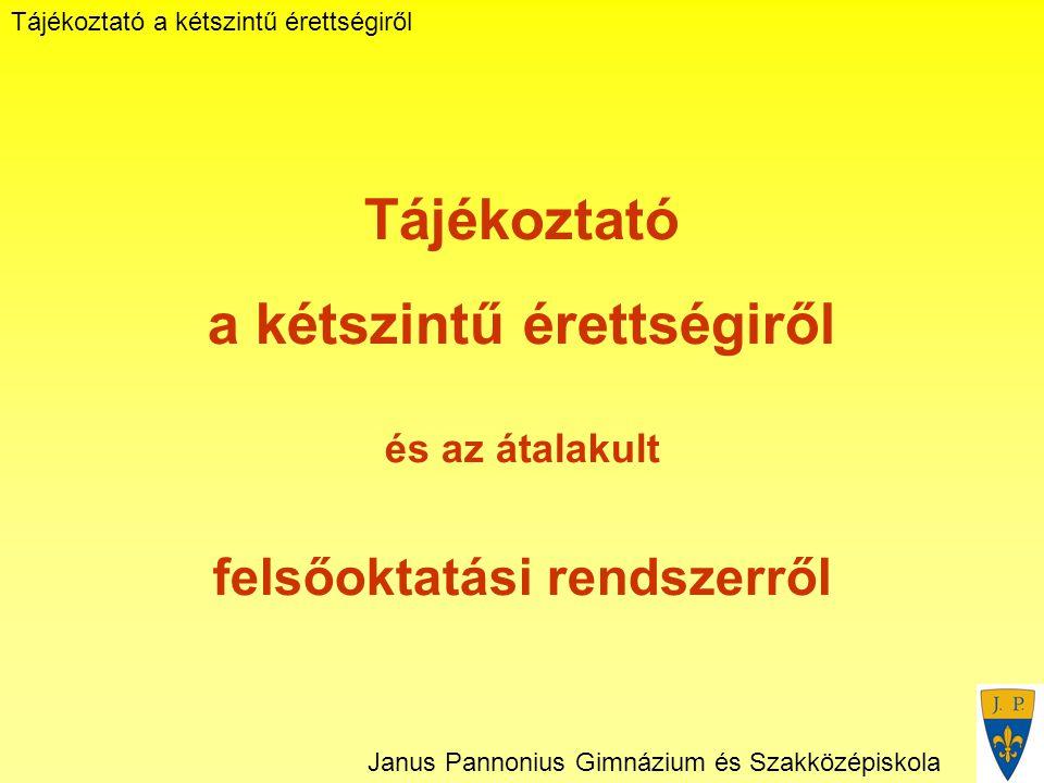 Tájékoztató a kétszintű érettségiről Janus Pannonius Gimnázium és Szakközépiskola Tájékoztató a kétszintű érettségiről és az átalakult felsőoktatási rendszerről