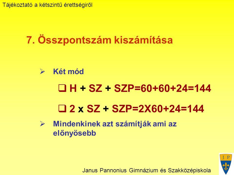 Tájékoztató a kétszintű érettségiről Janus Pannonius Gimnázium és Szakközépiskola 7.