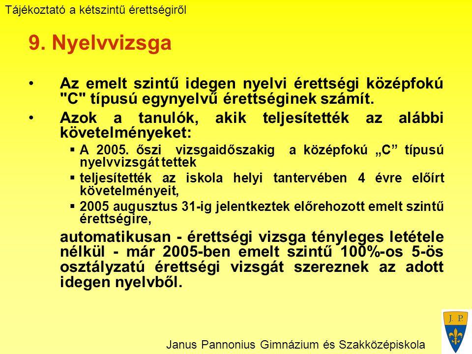 Tájékoztató a kétszintű érettségiről Janus Pannonius Gimnázium és Szakközépiskola 9.