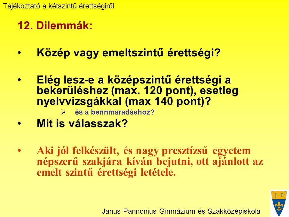 Tájékoztató a kétszintű érettségiről Janus Pannonius Gimnázium és Szakközépiskola 12.