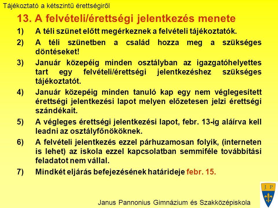 Tájékoztató a kétszintű érettségiről Janus Pannonius Gimnázium és Szakközépiskola 13.