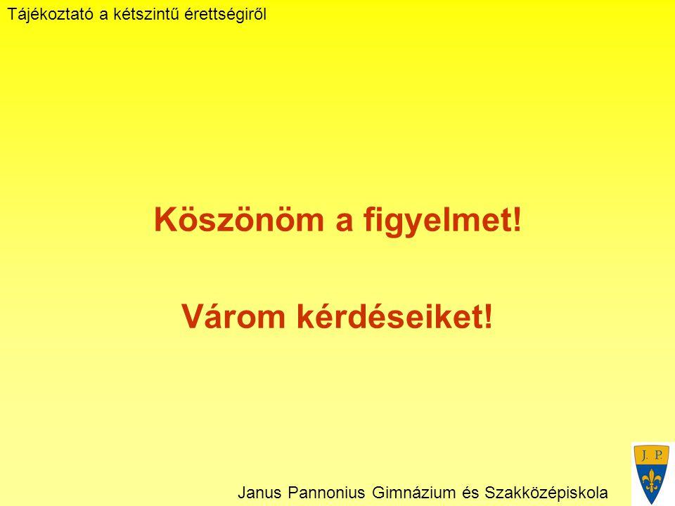 Tájékoztató a kétszintű érettségiről Janus Pannonius Gimnázium és Szakközépiskola Köszönöm a figyelmet.