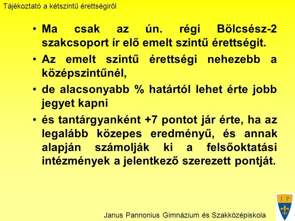 Tájékoztató a kétszintű érettségiről Janus Pannonius Gimnázium és Szakközépiskola Ma csak az ún.
