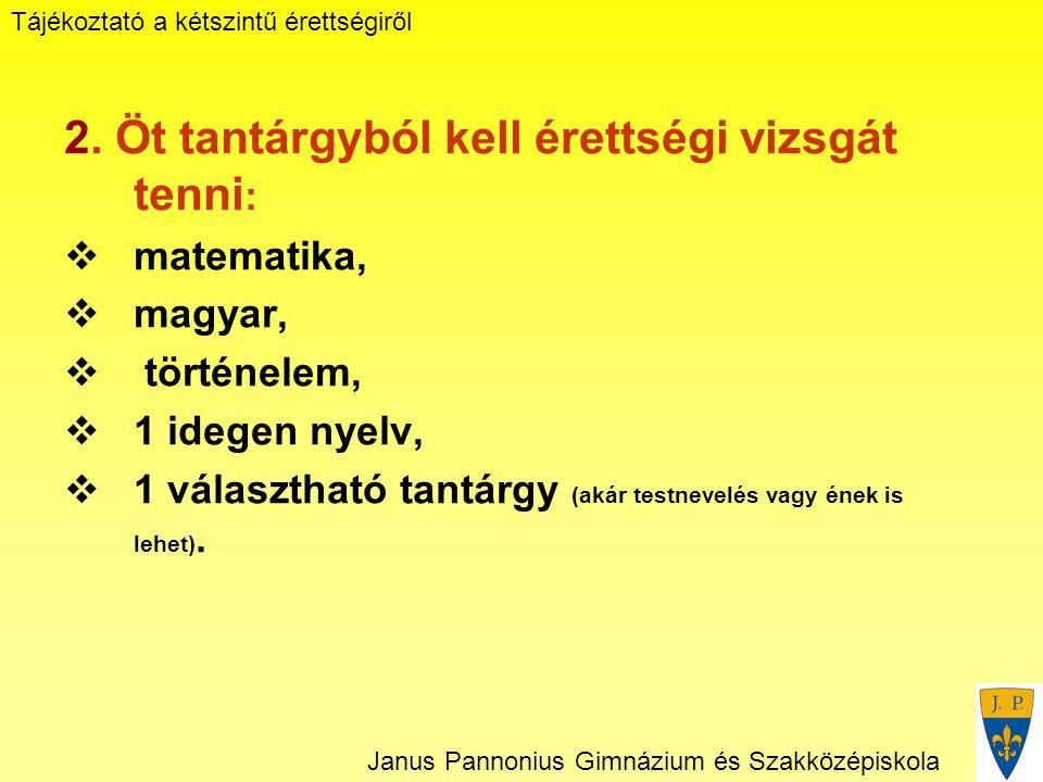 Tájékoztató a kétszintű érettségiről Janus Pannonius Gimnázium és Szakközépiskola 2.