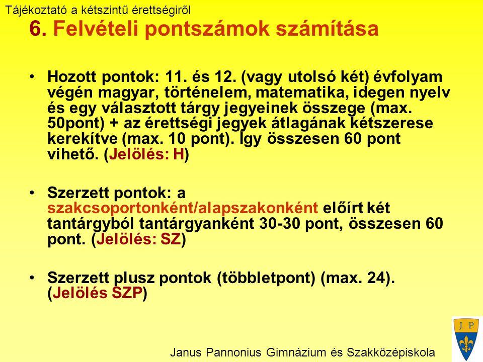 Tájékoztató a kétszintű érettségiről Janus Pannonius Gimnázium és Szakközépiskola 6.