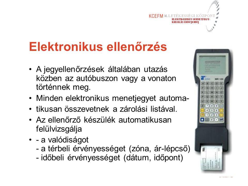 Oldal 12 Elektronikus ellenőrzés A jegyellenőrzések általában utazás közben az autóbuszon vagy a vonaton történnek meg. Minden elektronikus menetjegye