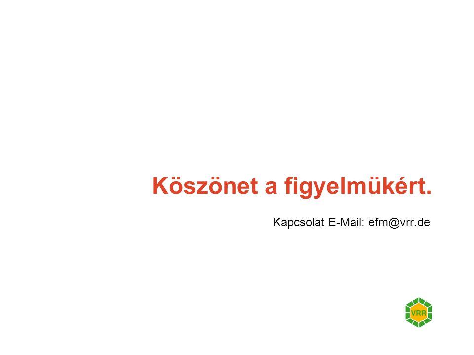 Köszönet a figyelmükért. Kapcsolat E-Mail: efm@vrr.de