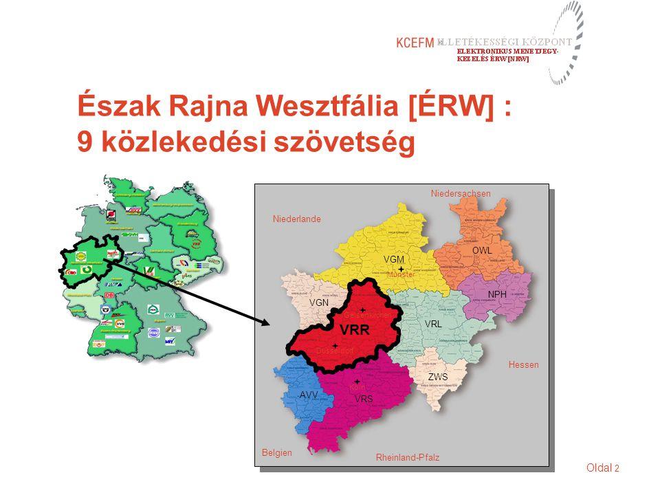 Oldal 2 Észak Rajna Wesztfália [ÉRW] : 9 közlekedési szövetség VGM OWL NPH VRL ZWS VGN VRS AVV VRR Niederlande Niedersachsen Belgien Rheinland-Pfalz H