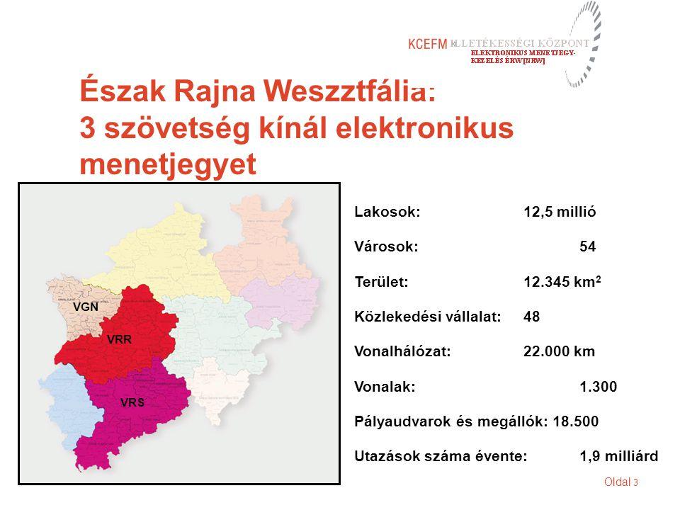 Oldal 3 Észak Rajna Weszztfália: 3 szövetség kínál elektronikus menetjegyet VGN VRR VRS Lakosok:12,5 millió Városok:54 Terület:12.345 km 2 Közlekedési vállalat:48 Vonalhálózat:22.000 km Vonalak:1.300 Pályaudvarok és megállók: 18.500 Utazások száma évente:1,9 milliárd