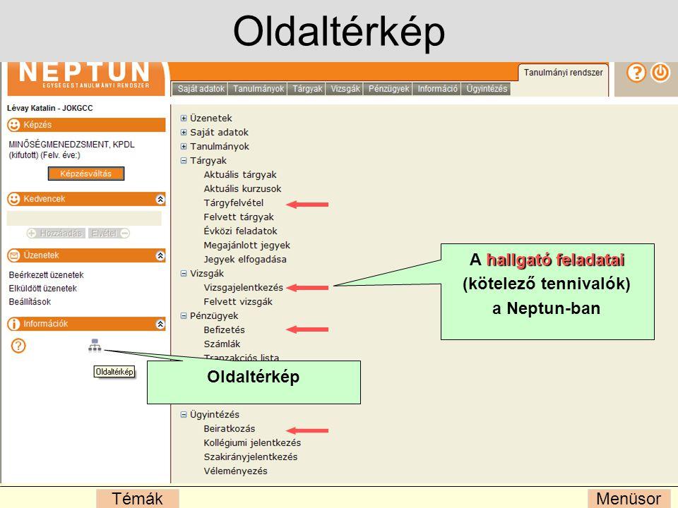 MenüsorTémák Oldaltérkép hallgató feladatai A hallgató feladatai (kötelező tennivalók) a Neptun-ban Oldaltérkép