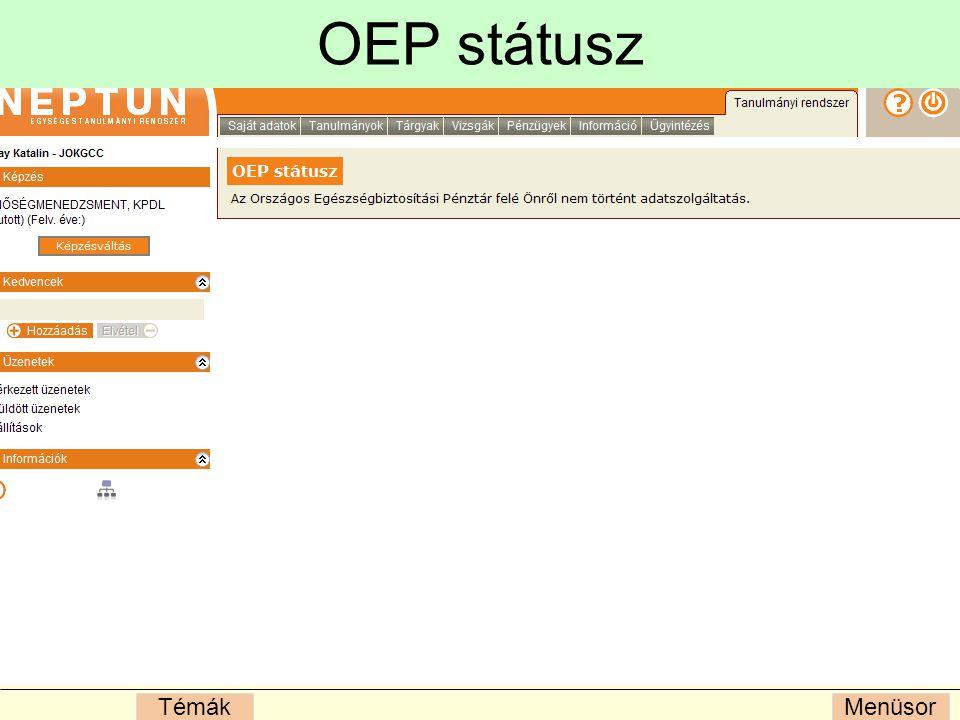 MenüsorTémák OEP státusz
