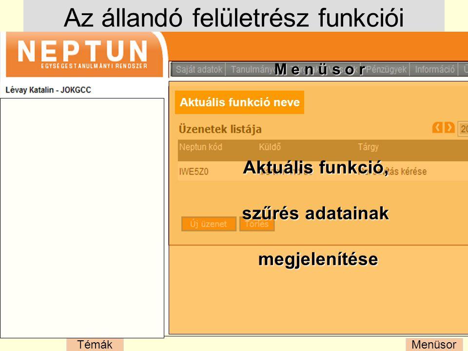 MenüsorTémák Az állandó felületrész funkciói M e n ü s o r Aktuális funkció, szűrés adatainak megjelenítése Aktuális funkció neve