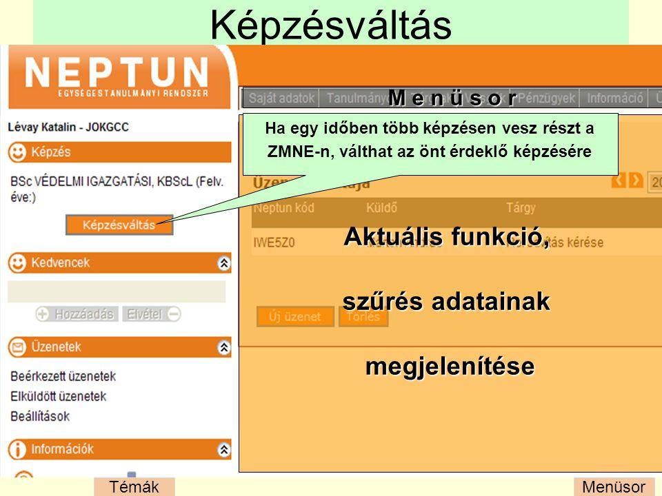 MenüsorTémák Felveendő/felvehető tárgyak listája