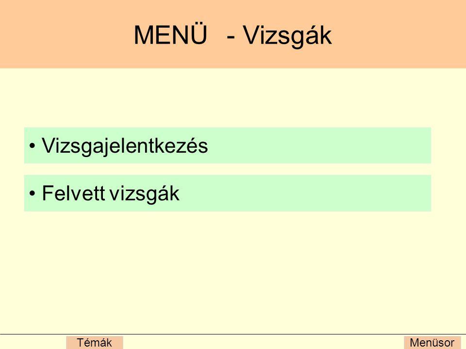 MenüsorTémák MENÜ- Vizsgák Vizsgajelentkezés Felvett vizsgák
