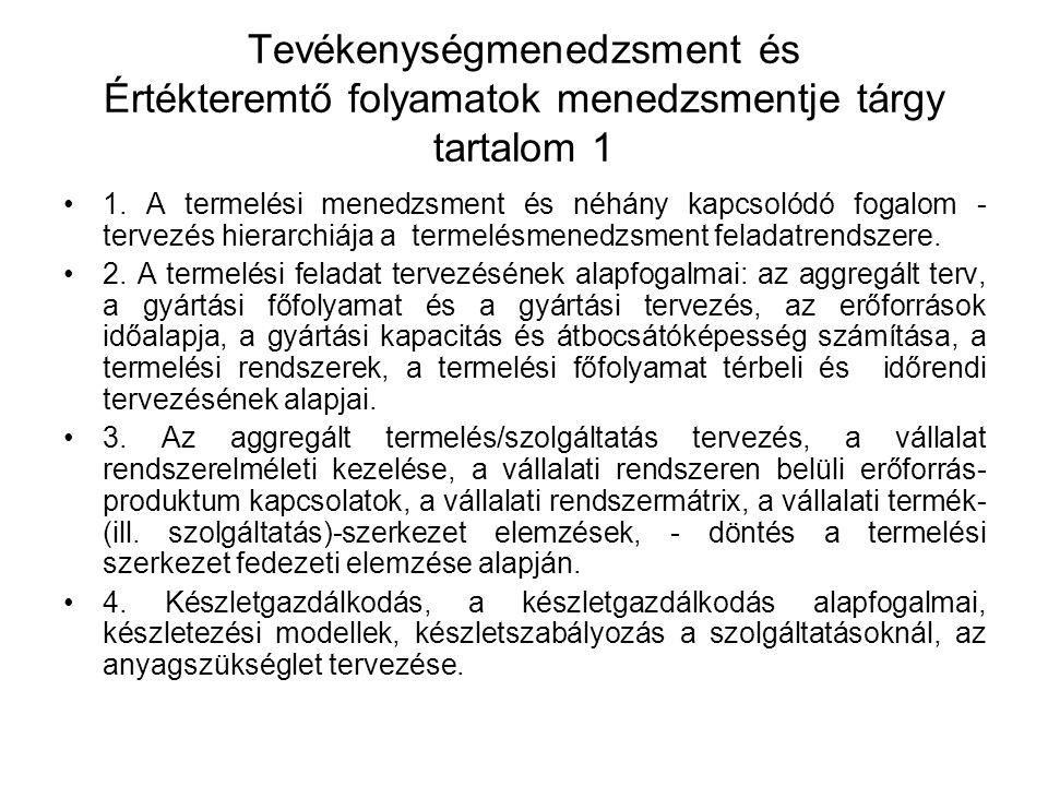 Tevékenységmenedzsment és Értékteremtő folyamatok menedzsmentje tárgy tartalom 2 5.
