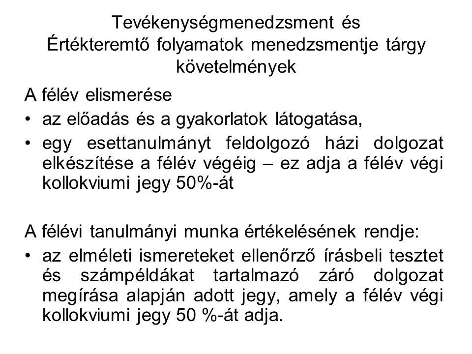 Ajánlott irodalom Polónyi István: Tevékenységmenedzsment DE 2007 Kun András István: Feladatgyűjtemény tevékenység- és termelésmenedzsment kurzusokra DE 2007 Az értékteremtő folyamatok menedzsmentje.