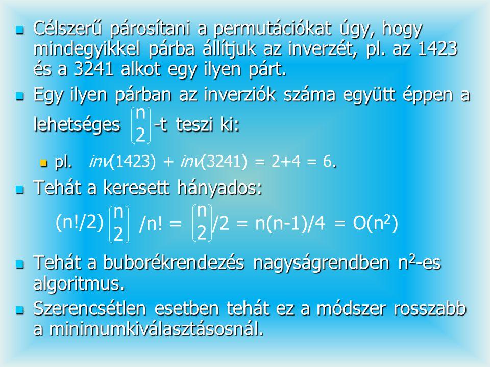 Célszerű párosítani a permutációkat úgy, hogy mindegyikkel párba állítjuk az inverzét, pl. az 1423 és a 3241 alkot egy ilyen párt. Célszerű párosítani
