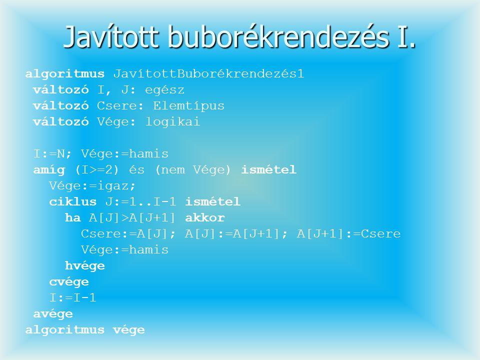 Javított buborékrendezés I. algoritmus JavítottBuborékrendezés1 változó I, J: egész változó Csere: Elemtípus változó Vége: logikai I:=N; Vége:=hamis a