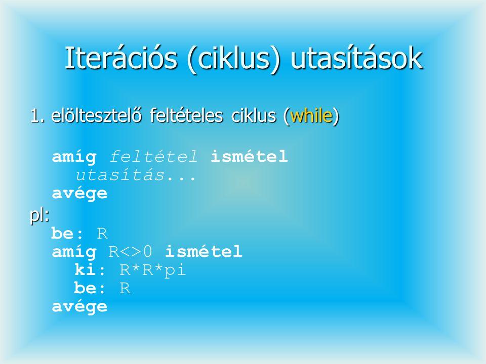 Iterációs (ciklus) utasítások 1. elöltesztelő feltételes ciklus (while) amíg feltétel ismétel utasítás... avége pl: pl: be: R amíg R<>0 ismétel ki: R*