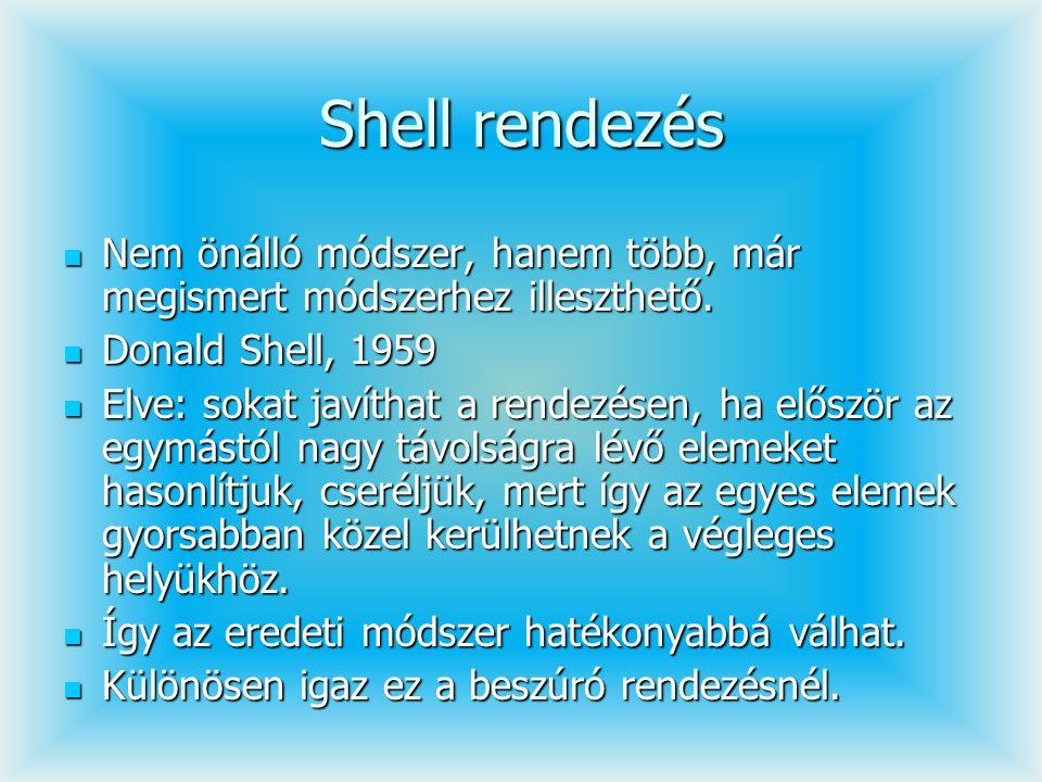 Shell rendezés Nem önálló módszer, hanem több, már megismert módszerhez illeszthető. Nem önálló módszer, hanem több, már megismert módszerhez illeszth