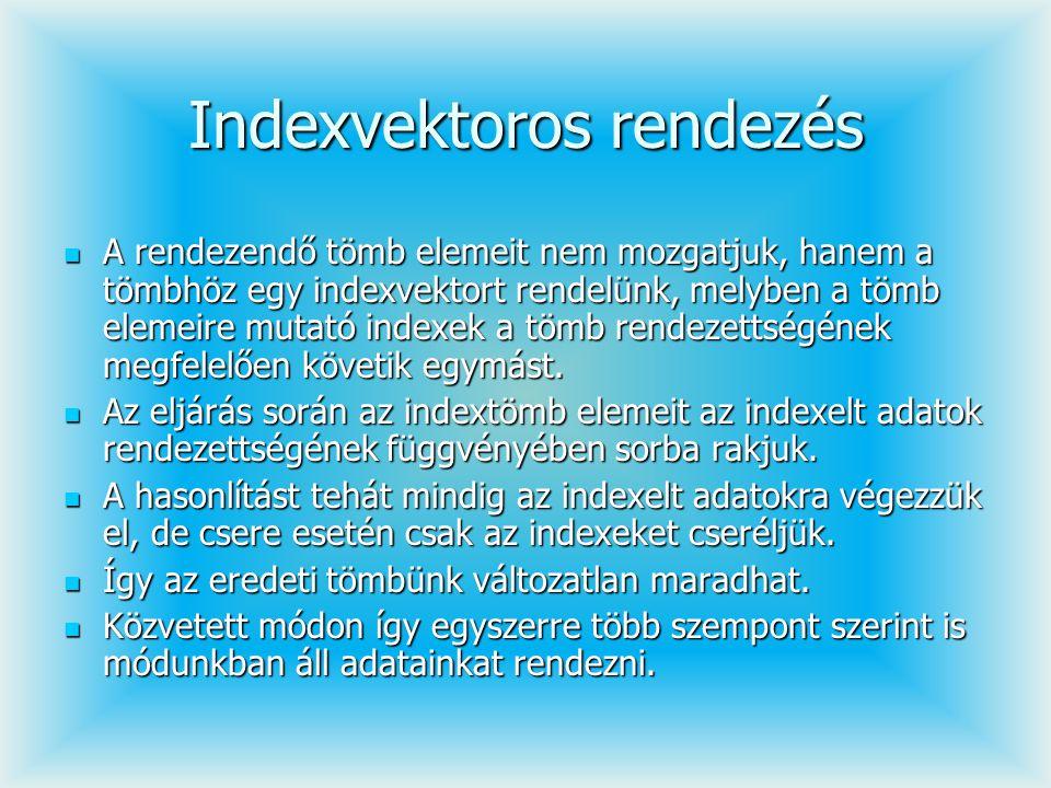 Indexvektoros rendezés A rendezendő tömb elemeit nem mozgatjuk, hanem a tömbhöz egy indexvektort rendelünk, melyben a tömb elemeire mutató indexek a t